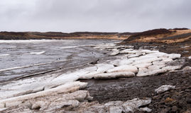 Frozen lake with ice  in iceland Royalty Free Stock Images
