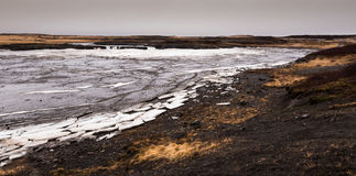 Frozen lake with ice in iceland Royalty Free Stock Photos