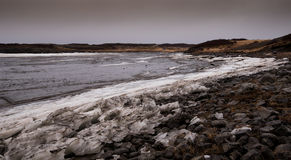Frozen lake with ice in iceland Stock Photo