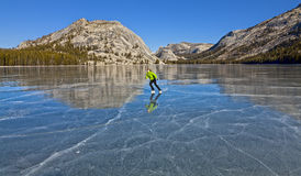 Frozen lake ice skating. Royalty Free Stock Images