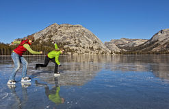 Frozen lake ice skating. Royalty Free Stock Photos