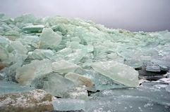 Frozen lake and icebergs Stock Photo