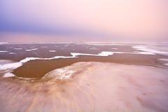 Frozen lake Ijsselmeer in Netherlands Royalty Free Stock Photo