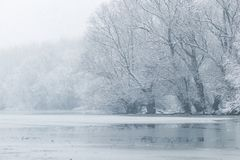 Free Frozen Lake In Winter, Winter Lake Scene Royalty Free Stock Images - 153257299