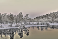 Frozen Lake in Inari, Finland Stock Photos