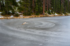 Frozen Lake. Lake Irene frozen over in Rocky Mountain National Park Royalty Free Stock Photo