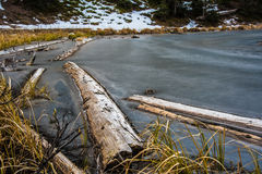 Frozen Lake. Lake Irene frozen over in Rocky Mountain National Park Royalty Free Stock Images