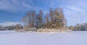 Frozen lake with an island Stock Photos