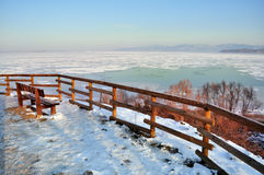 Frozen lake, Italy. Panoramic view of the frozen lake Royalty Free Stock Image
