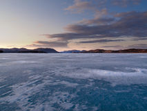 Frozen Lake Laberge, Yukon, Canada Stock Images