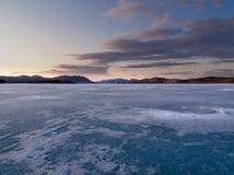 Frozen Lake Laberge, Yukon, Canada Stock Images