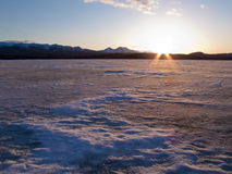 Frozen Lake Laberge, Yukon, Canada Royalty Free Stock Photography