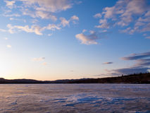 Frozen Lake Laberge, Yukon, Canada Royalty Free Stock Images