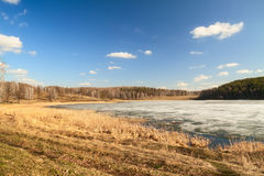 Frozen lake landscape Royalty Free Stock Images