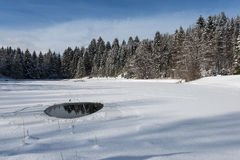 Frozen lake with little water hole Stock Photo