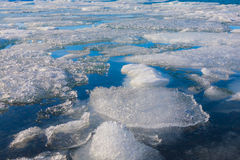 Frozen lake locate in Jokulsarlon glacier lagoon Royalty Free Stock Photo