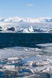 Frozen lake locate in Jokulsarlon glacier. Lagoon Iceland winter season landscape Royalty Free Stock Photos