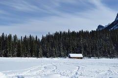 Frozen Lake Louise. Boat house on a frozen Lake Louise Royalty Free Stock Photo