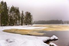 Frozen lake melting down Royalty Free Stock Photos