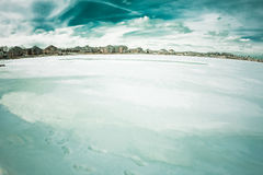 Frozen lake in MI. A winter portrait of scenic Lake in michigan Royalty Free Stock Images