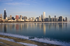 Frozen Lake Michigan in Chicago stock images
