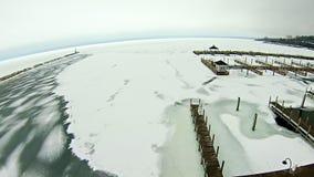 Frozen lake michigan near petoskey waterfront marina royalty free stock photos