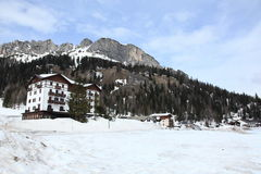 Frozen Lake Misurina at Dolomites Alps Stock Photography