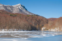 Frozen lake in Montseny Royalty Free Stock Photography
