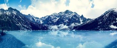 Frozen lake Morskie oko with mountain landscape Royalty Free Stock Photo
