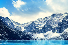 Frozen lake Morskie oko with mountain landscape Stock Photography