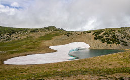 Frozen lake in Mount Rainier NP Stock Photos