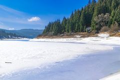 Frozen Lake on a mountain. Surrounded by a forest of pine trees Stock Photo