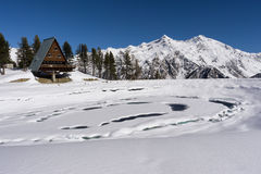 Frozen lake in mountain on italian Alps, Gressoney, Italy. Stock Photos