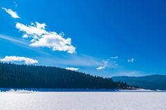 Frozen Lake on a mountain. Surrounded by a forest of pine trees Stock Image