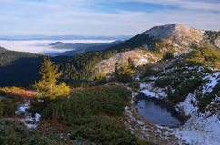 Frozen lake in the mountains Royalty Free Stock Photography