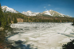 Frozen lake in the mountains. Royalty Free Stock Photography
