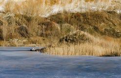 Frozen lake in a mountains land Stock Photos