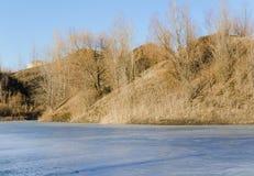 Frozen lake in a mountains land Royalty Free Stock Photos