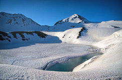 Frozen Lake. In the mountains of Tateyama Kurobe Alpine Route Royalty Free Stock Photography