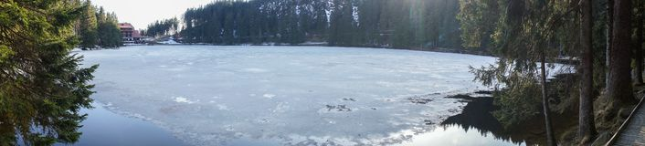 Frozen lake mummelsee in blackforest germany stock photos