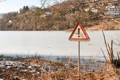 Frozen lake of Muzzano near Lugano Stock Photos
