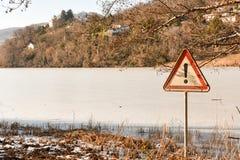 Frozen lake of Muzzano near Lugano Royalty Free Stock Photography