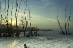 Frozen lake. Near the town of Shumen stock images