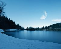 Frozen lake in the night Royalty Free Stock Photos
