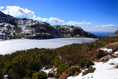 Frozen Lake. One of the many lakes in Serra da Estrela, in this trip to there, this lake was still frozen even if the sun was shining Stock Photo
