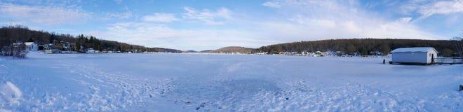 Frozen Lake Panorama Royalty Free Stock Photos