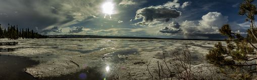 Frozen lake panorama view stock photography