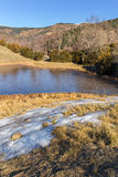 Frozen lake in Pardines, Pyrenees Royalty Free Stock Images