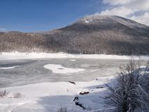 Frozen lake, Passi Lagastrello in the Italian Appennine mountain Royalty Free Stock Image
