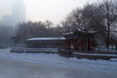 frozen lake in people`s park Urumqi China Stock Photography